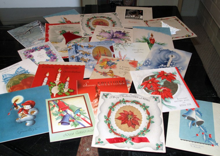 Greeting cards from the 1940s and 1950s.