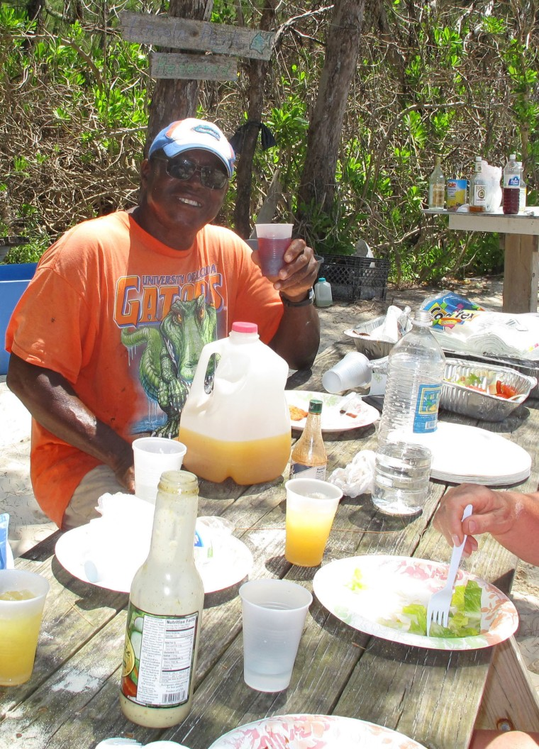 Legendary Green Turtle Cay fishing guide, Lincoln Jones, enjoys a well-deserved break.