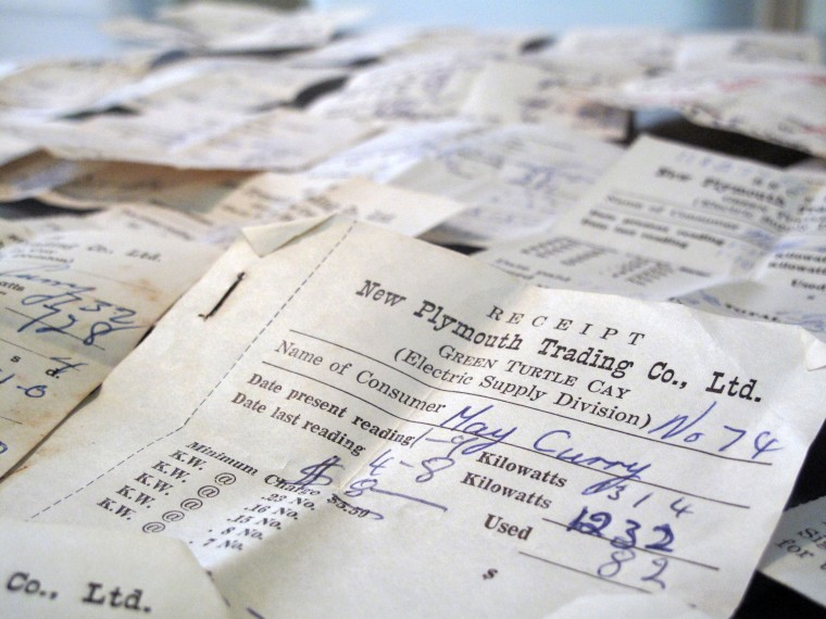 Decades' worth of electric receipts.