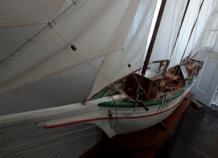 Model ship by Albert Lowe, on display in the museum