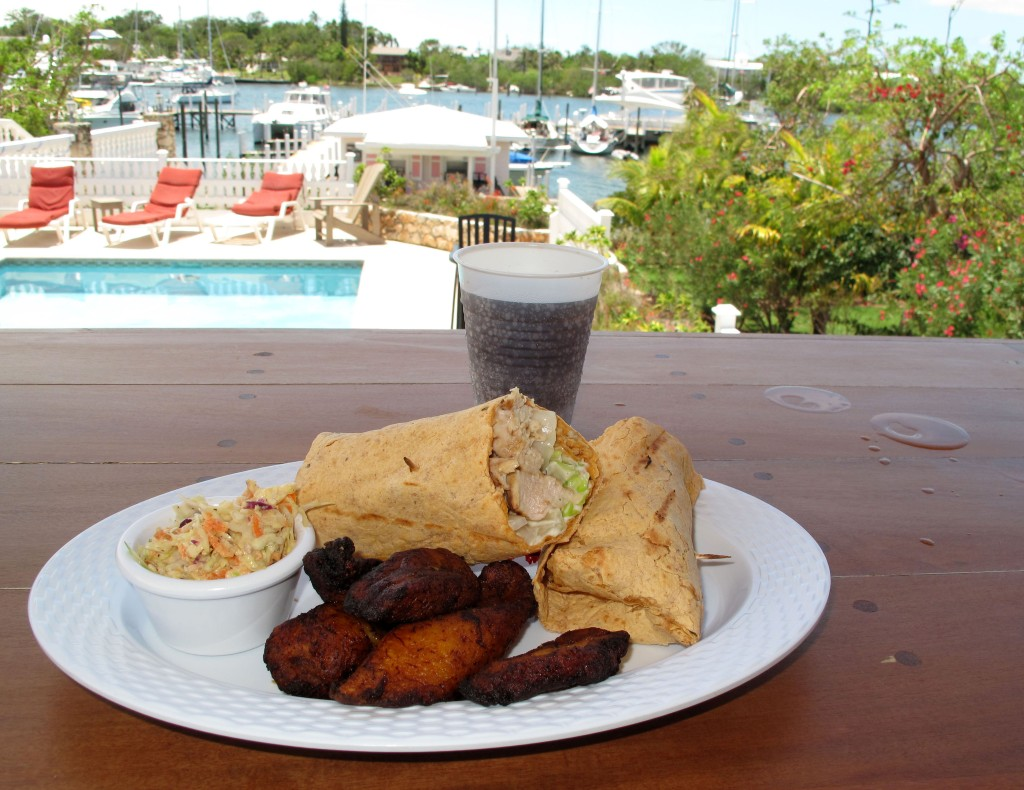 Chicken Wrap with Fried Plantain at the Lizard Bar & Grill