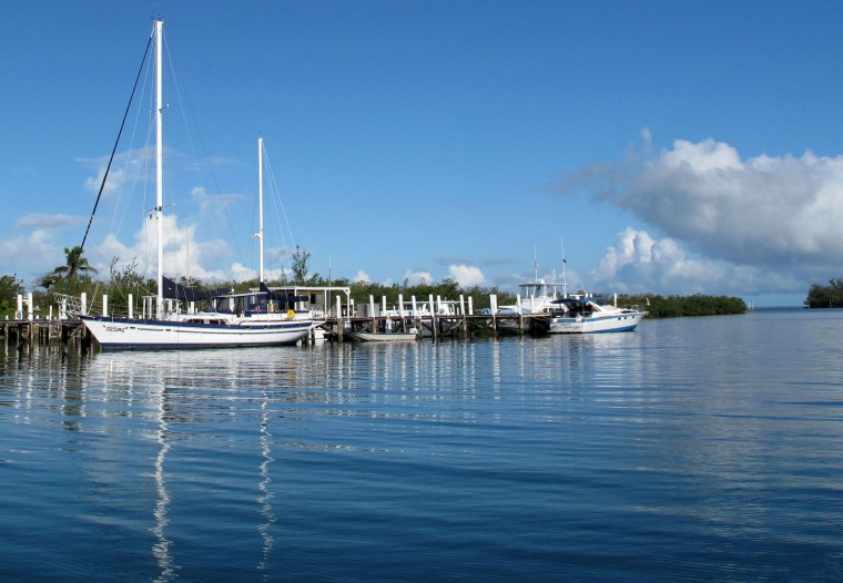 The waterfront in Black Sound, Green Turtle Cay, Abaco, Bahamas.