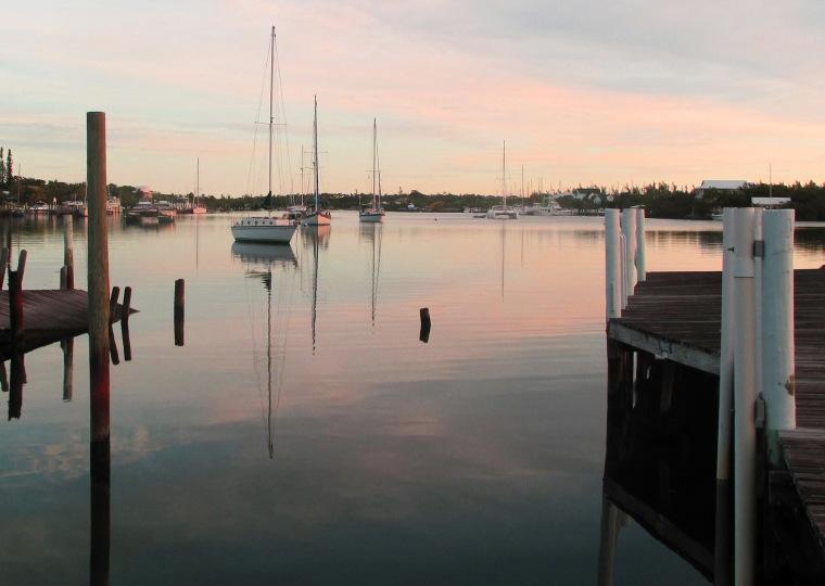bahamas, abaco, green turtle cay, black sound, sunrise