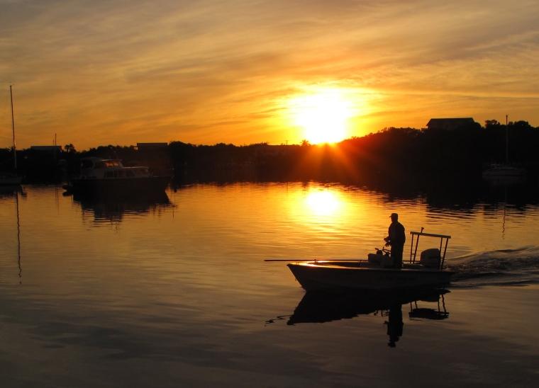 bahamas, abaco, green turtle cay, sunrise, fisherman