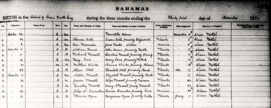 bahamas, abaco, green turtle cay, genealogy