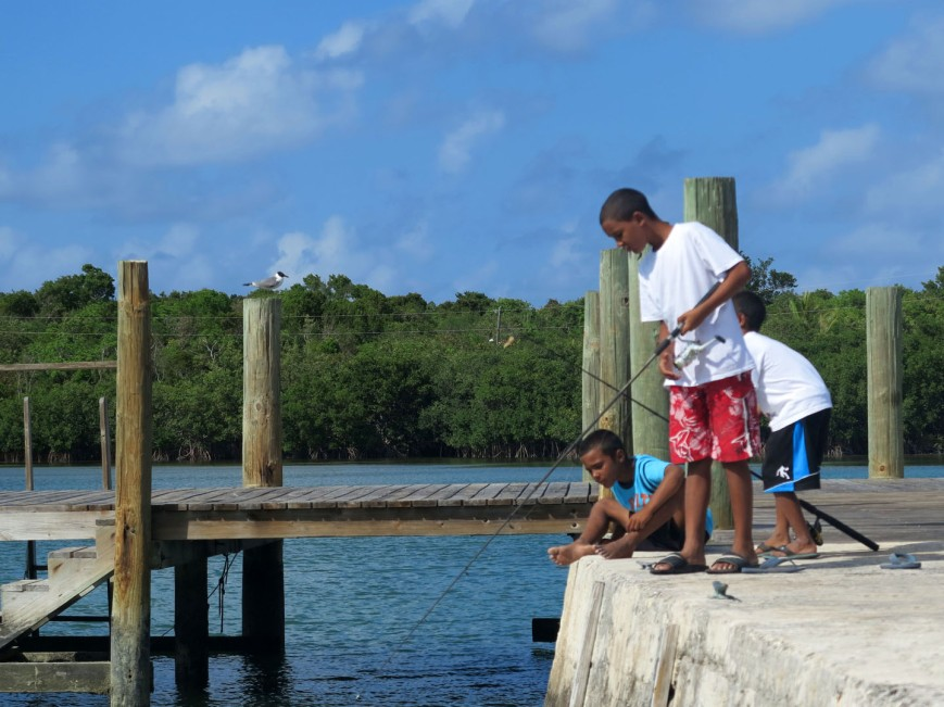 Fishing from the public dock, Green Turtle Cay, Abaco, Bahamas