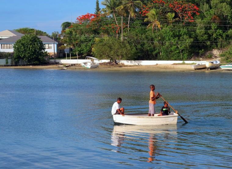 Sculling in Settlement Creek, Green Turtle Cay, Bahamas