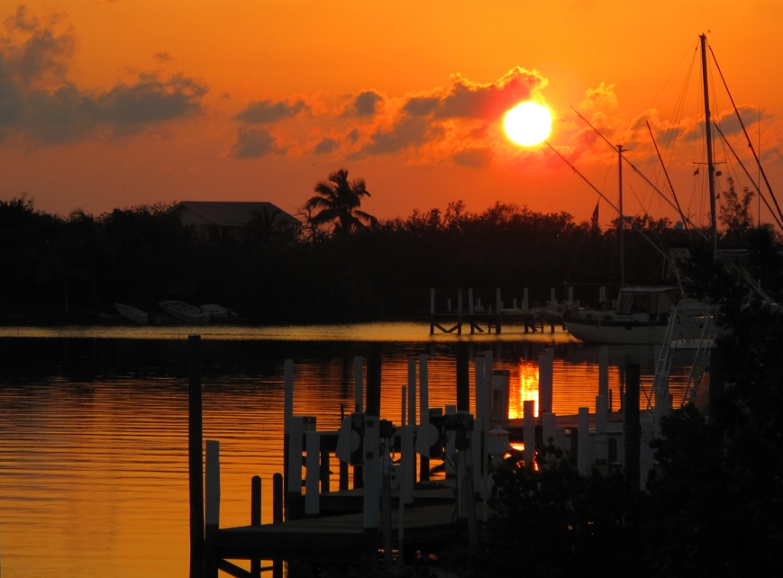 Sunset over the Leeward Yacht Club Marina