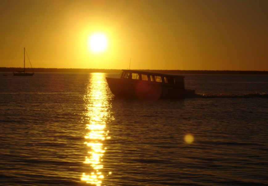 Green Turtle Ferry at Sunset