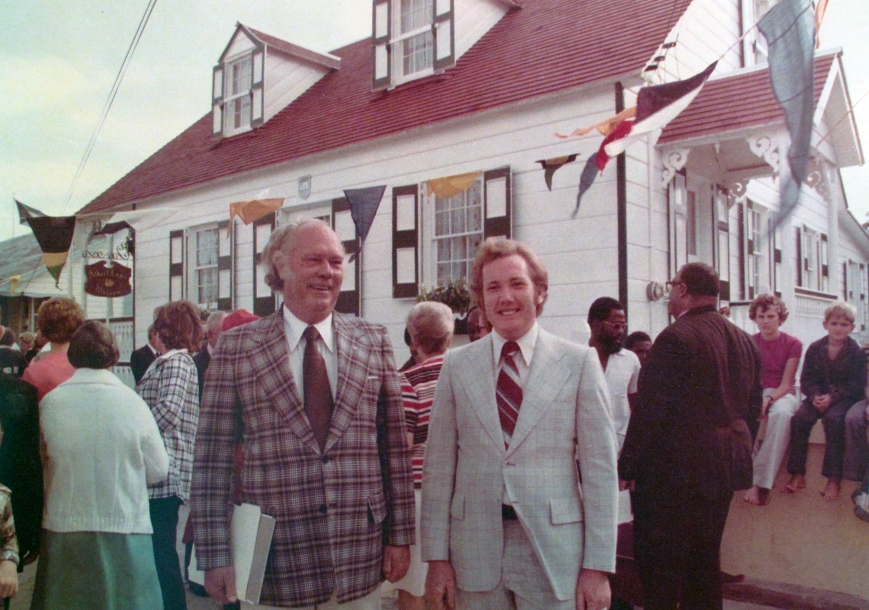 Historian Dr. Paul Albury and artist, Alton Lowe, at the opening of the Albert Lowe Museum, Green Turtle Cay - 1976.
