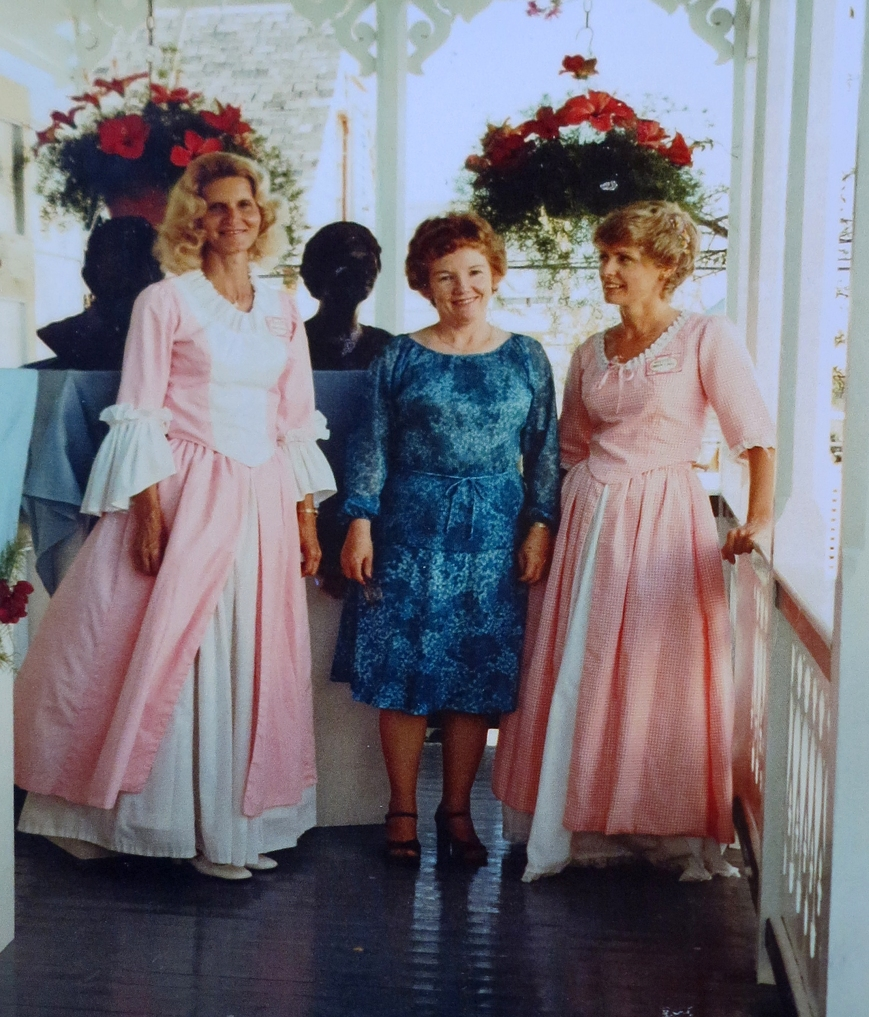 Green Turtle Cay residents Marguerite Lowe Mendelson, Iva Lowe Scholtka and Carolyn Cash celebrate the unveiling of five new busts for the New Plymouth Memorial Sculpture Garden. (circa 1987)