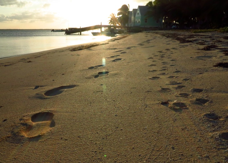 Evening walk on the South Beach, Green Turtle Cay, Abaco, Bahamas