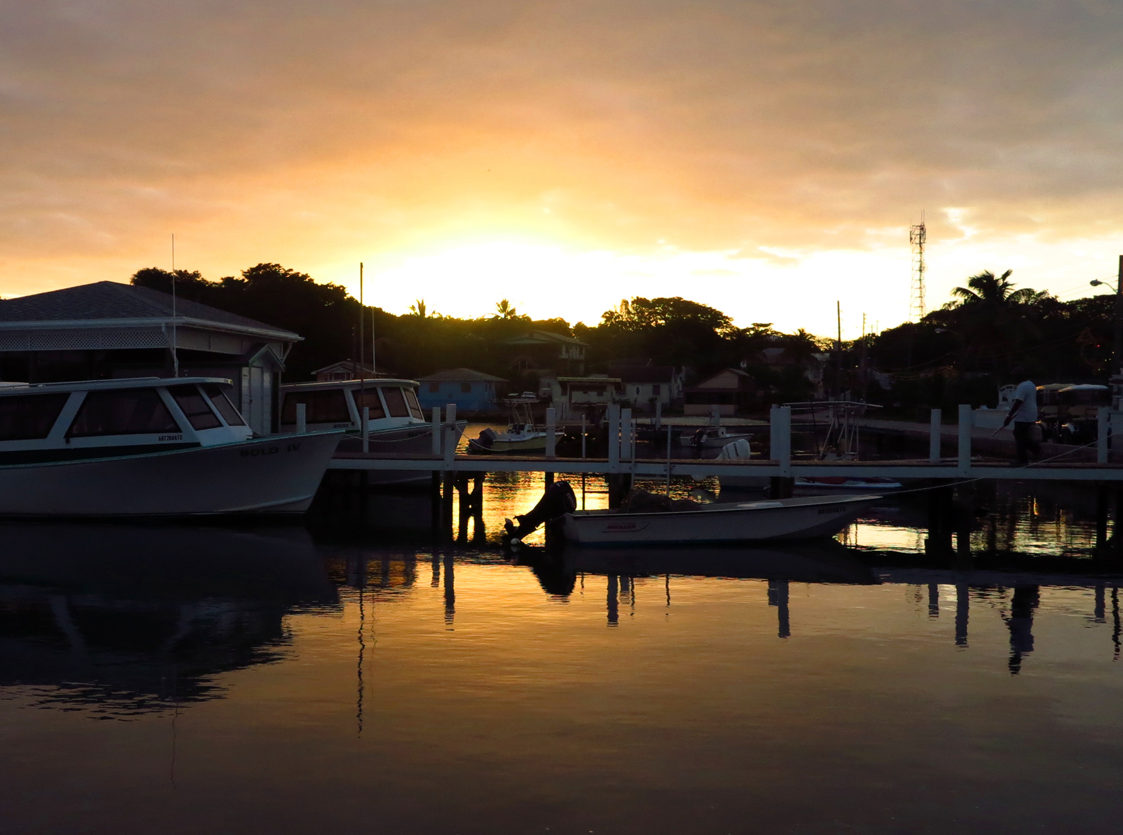 Sunrise over Settlement Creek, Green Turtle Cay, Bahamas.