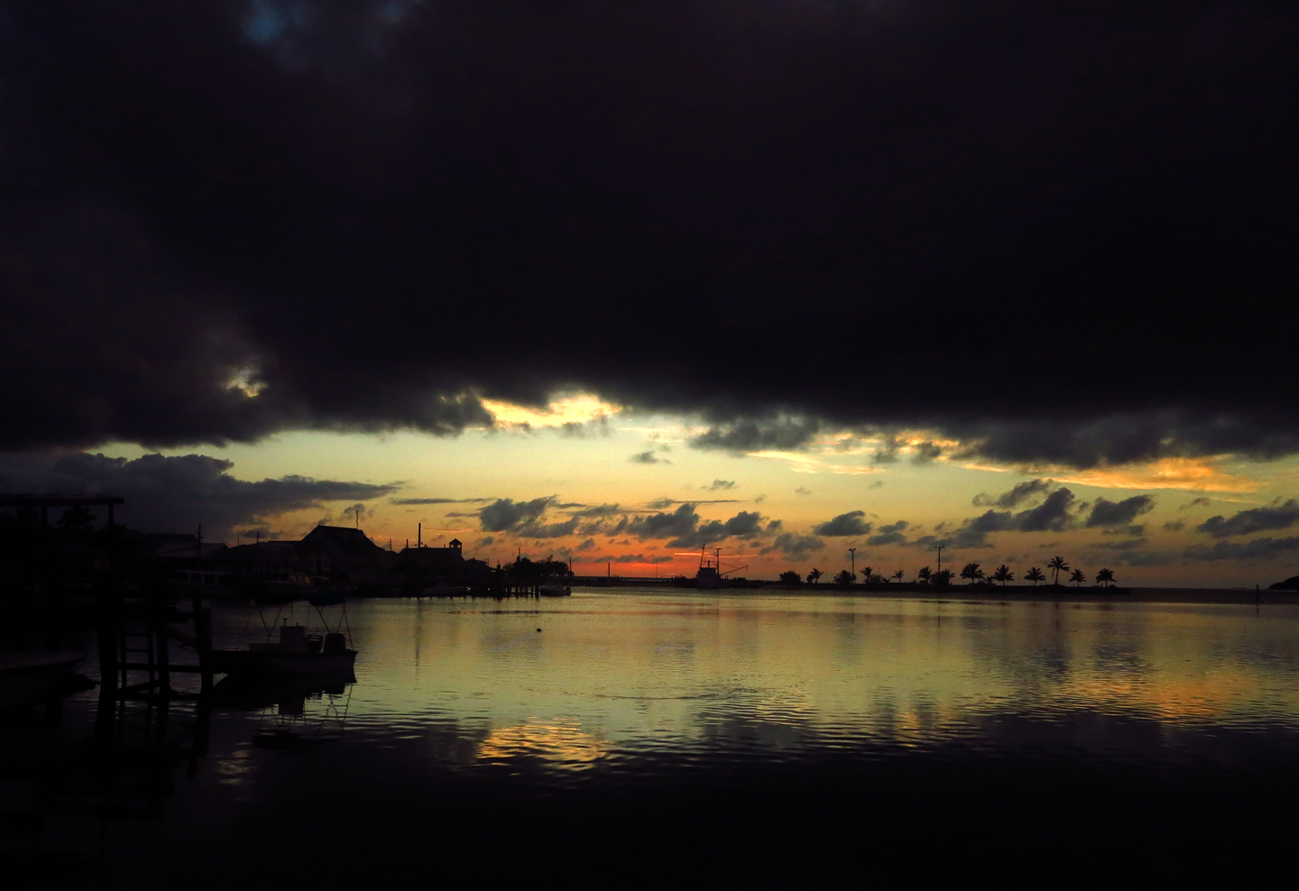 Ominous sunset over Settlement Point, Green Turtle Cay, Bahamas.