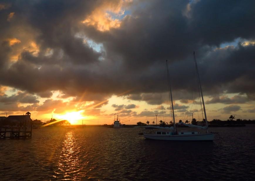Sunset over Settlement Creek, Green Turtle Cay