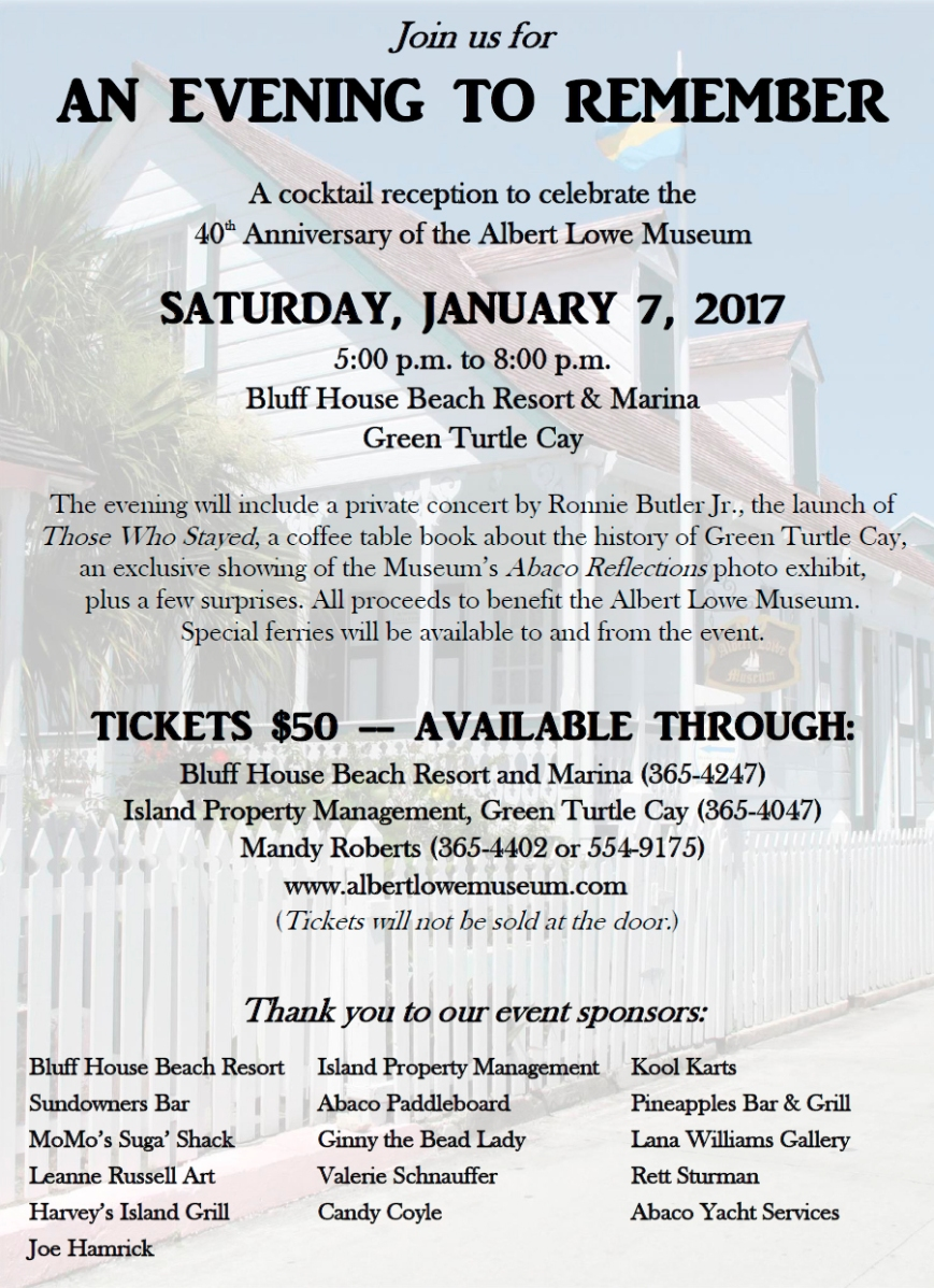Albert Lowe Museum 40th Anniversary Party - January 7, 2017