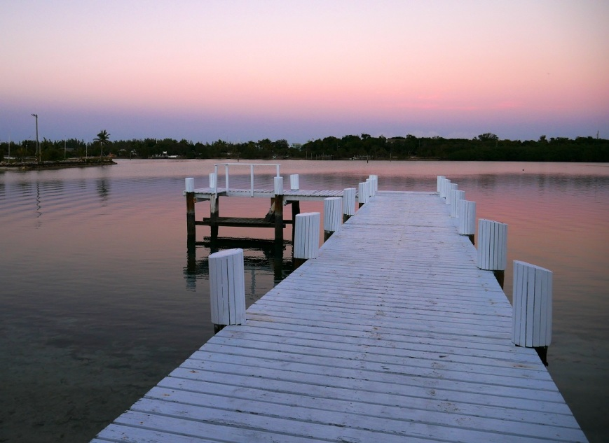 Pink sunset over Settlement Creek, Green Turtle Cay, Bahamas