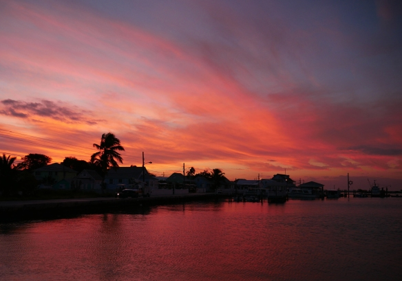 Sunset over Settlement Creek, Green Turtle Cay, Bahamas