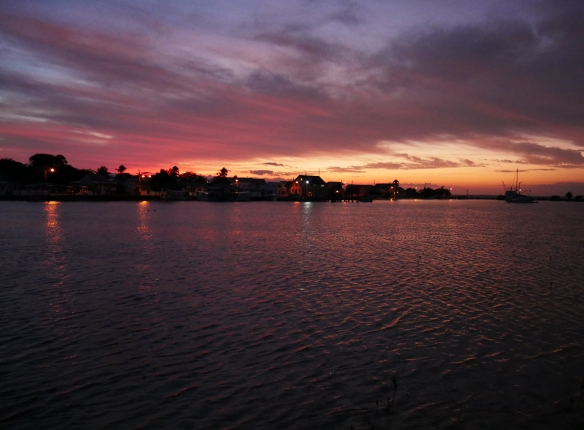 Colourful sunset over Settlement Creek - Green Turtle Cay, Abaco, Bahamas.