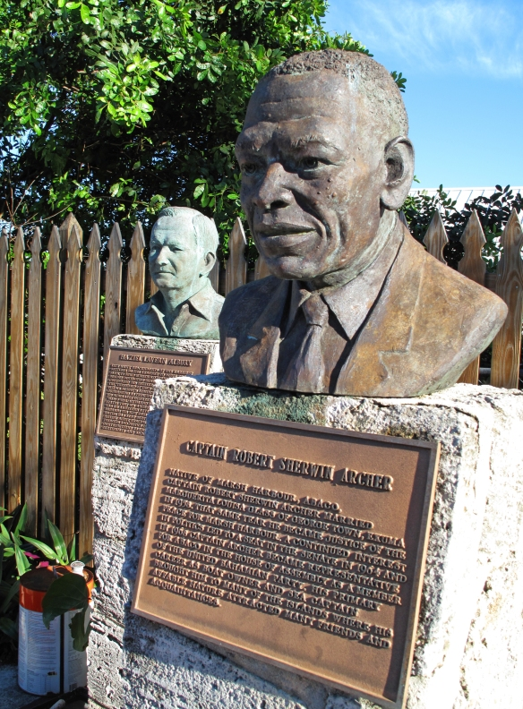 Bronze busts in the Loyalist Memorial Sculpture Garden - Green Turtle Cay, Abaco, Bahamas