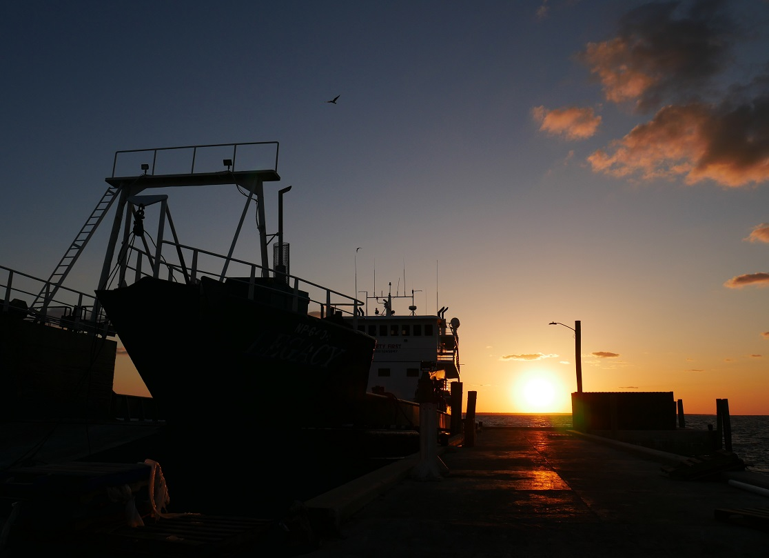 www.LittleHousebytheFerry.com - Freight boat makes an unusual late afternoon stop in Green Turtle Cay, Abaco, Bahamas.