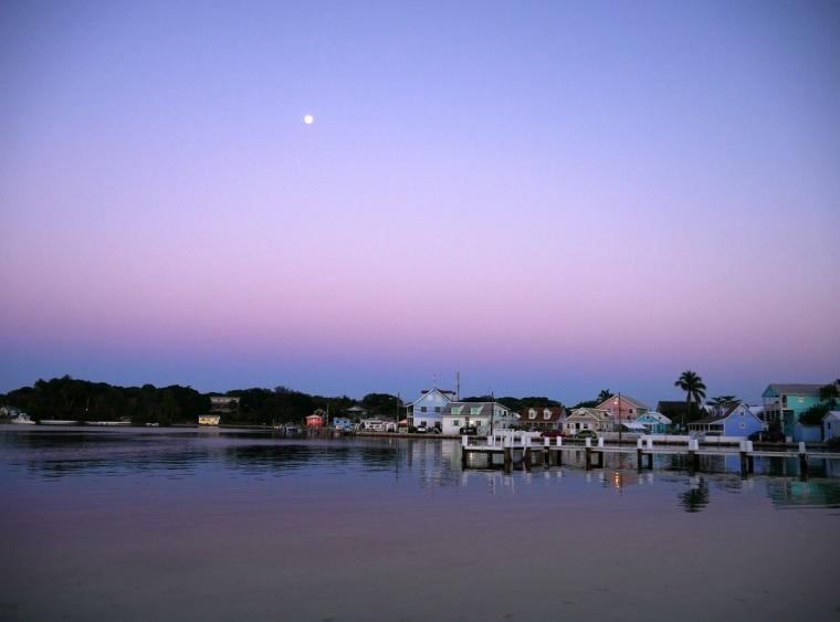 www.LittleHousebytheFerry.com - Daily Photo - Moonrise over Settlement Creek, Green Turtle Cay, Abaco, Bahamas.