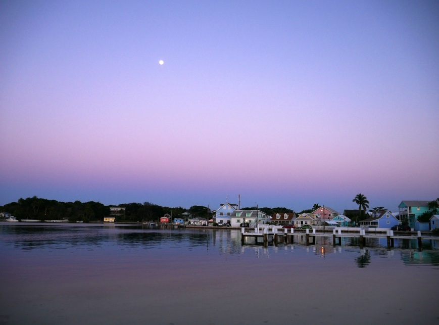 www.LittleHousebytheFerry.com - Daily Photo - Moonrise over Settlement Creek, Green Turtle Cay, Abaco, Bahamas.