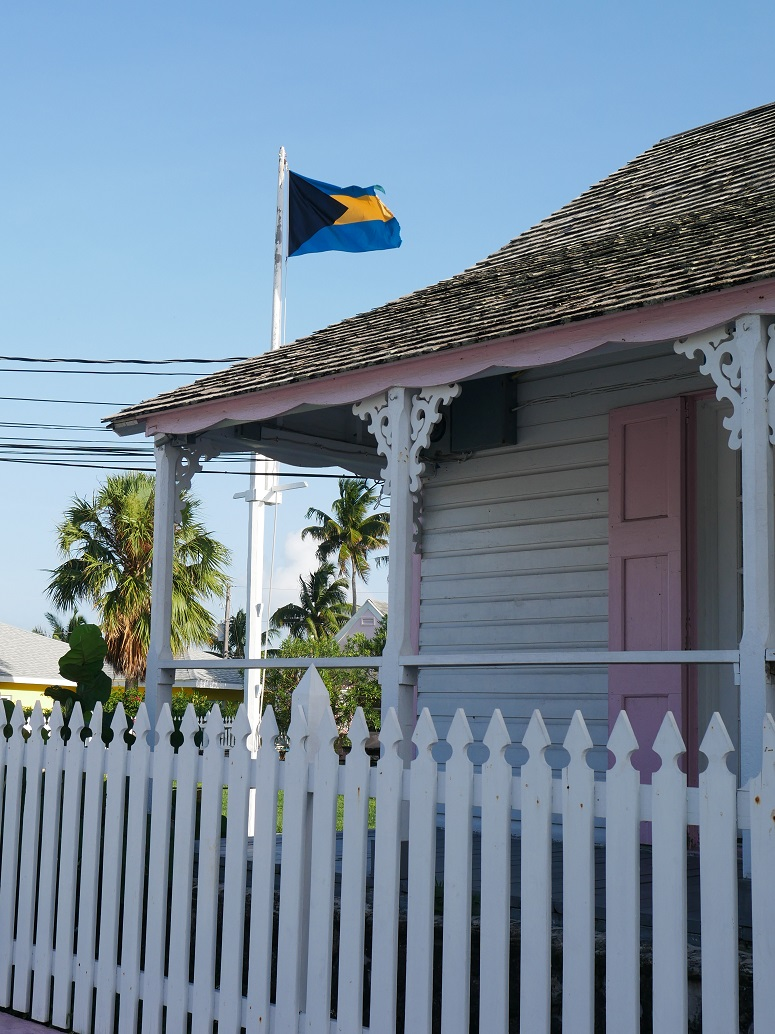 www.LittleHousebytheFerry.com - Daily Photo - Bahamian Flag at the Administrative Building - Green Turtle Cay, Abaco, Bahamas.